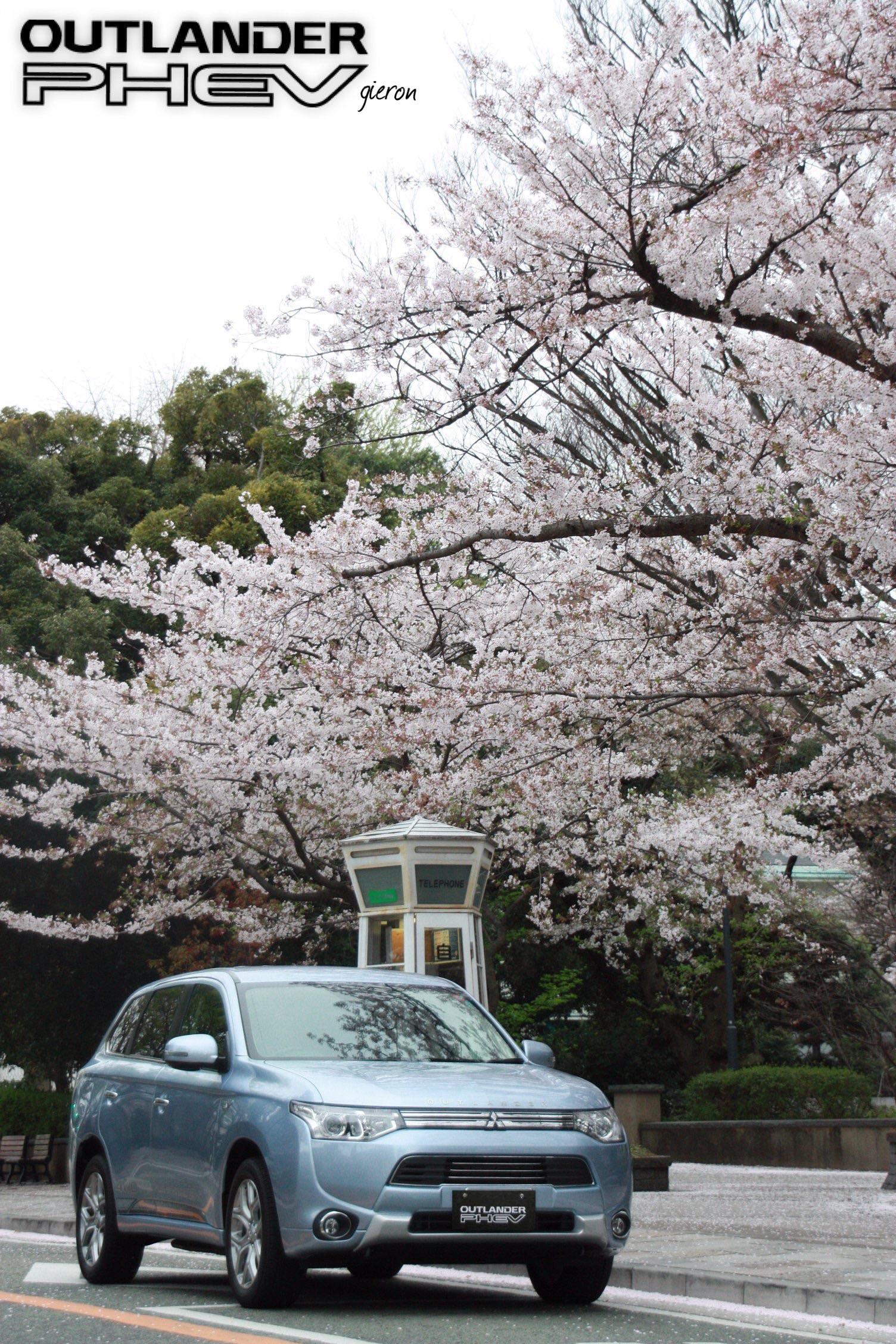 桜とアウトランダーPHEV