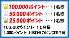 フルーツメールビンゴ当選10万pt