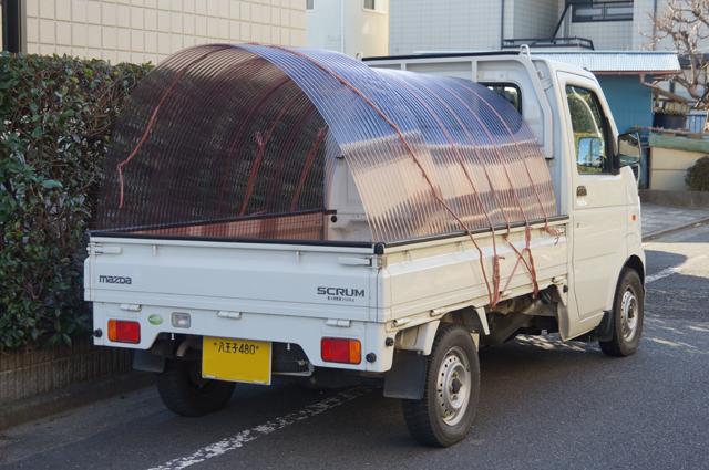 マツダスクラムの荷台にポリカ波板で屋根をつける