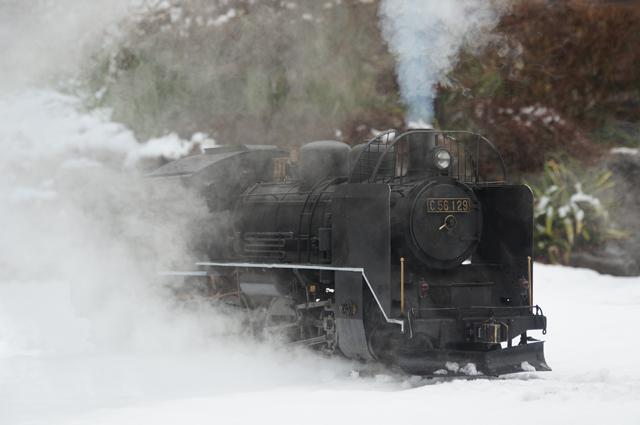 C56 129 飯山線冬仕様 つらら切 スノープラウと雪 吹き上がる蒸気