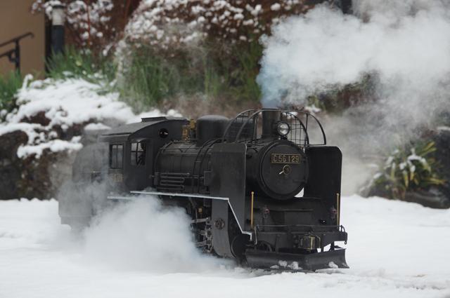 C56 129 飯山線冬仕様 つらら切 スノープラウと雪 雪と蒸気