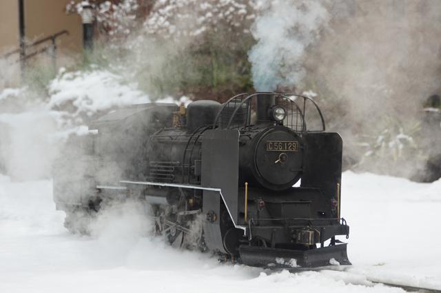 C56 129 飯山線冬仕様 つらら切 スノープラウと雪 蒸気が綺麗