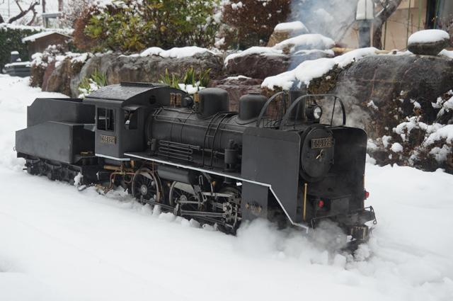 C56 129 飯山線冬仕様 つらら切 スノープラウと雪 雪は楽しや