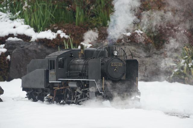 C56 129 飯山線冬仕様 つらら切 スノープラウと雪 現役当時の様