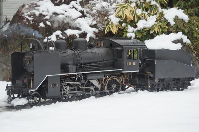 C56 129 飯山線冬仕様 つらら切 スノープラウと雪