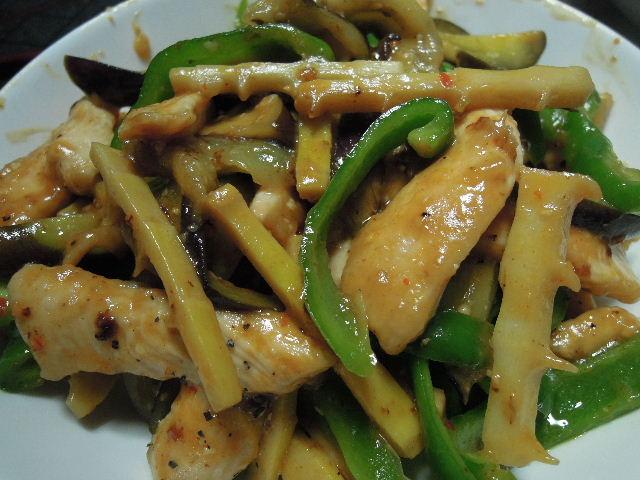 鶏肉と破竹の辛味噌炒め