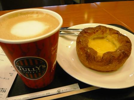 タリーズコーヒー:カフェラテ、エッグノッグデニッシュ