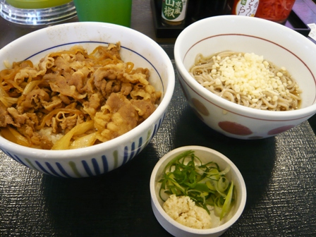なか卯:和風牛丼、小そば冷やし
