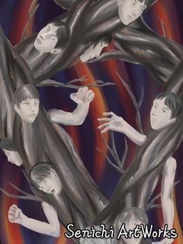 地獄の樹に喰われる人間
