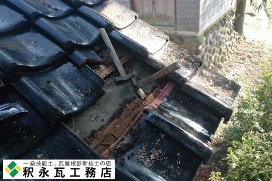 富山県立山町 神社瓦屋根工事 修理中