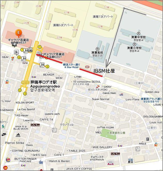 韓流スターロード地図