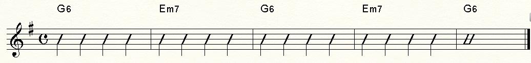 G6、Em7ストローク
