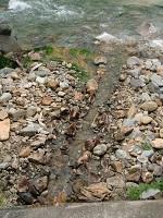 温泉を川に排水