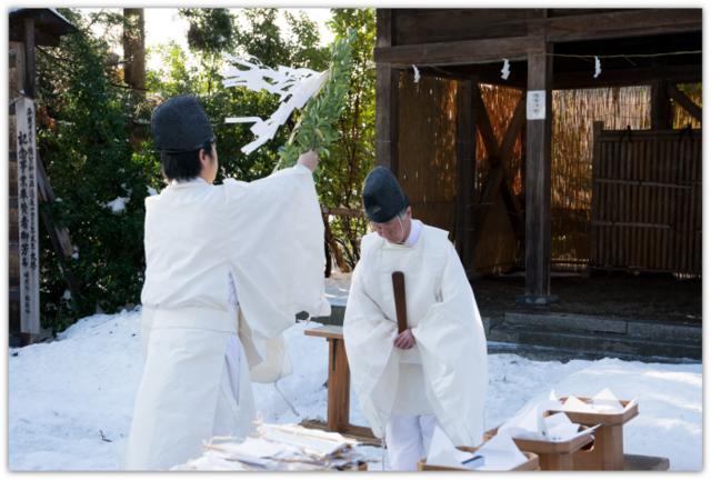 青森県 平川市 猿賀神社 神事 尾上 茅の輪くぐり 師走の大祓