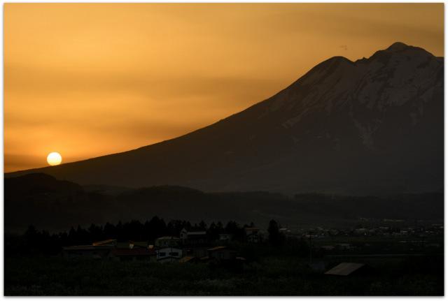 青森県 弘前市 りんご公園 岩木山 夕陽 夕日 観光 タイムラプス