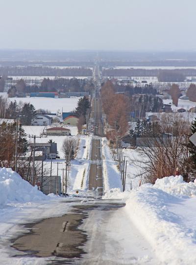 斜里町の直線道路2014-3