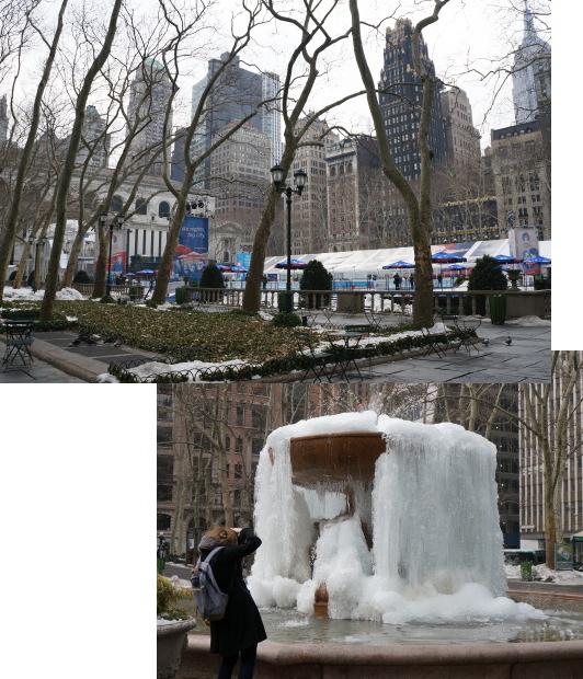 噴水が凍っとる...