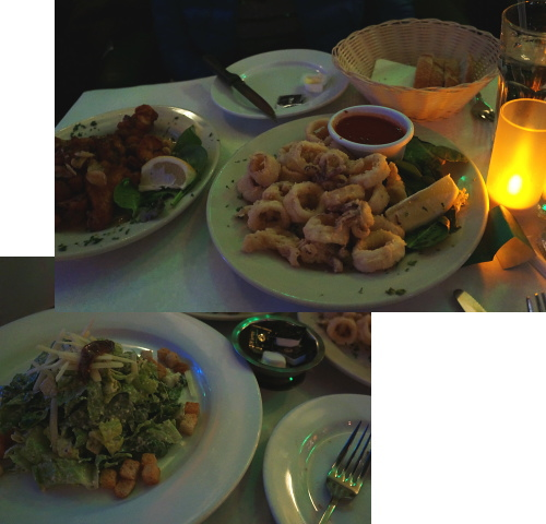 チキングリル、イカのフリット、シーザーサラダ