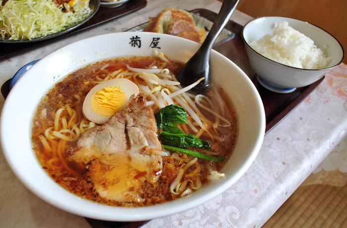 とんかつ・ラーメン 菊屋@上三川町西蓼沼 らーめん・餃子・半ライスセット1