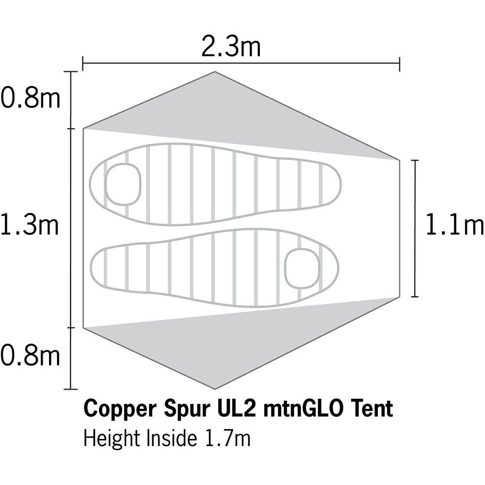 Big Agnes Copper Spur UL2 mtnGLO Tent サイズ