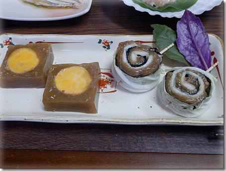 熟成ムネ肉の白菜海苔巻きときんかんの煮こごり