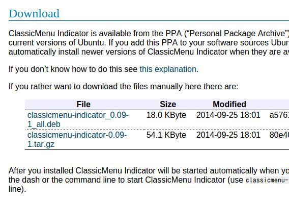 ClassicMenu Indicator 0.09 Ubuntu debパッケージ ダウンロード