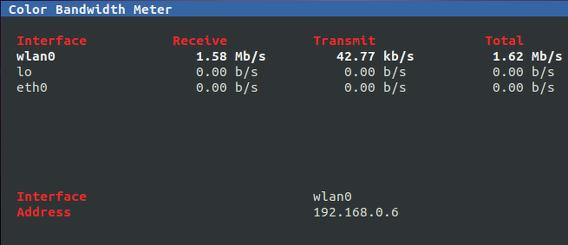 Color Bandwidth Meter (cbm) Ubuntu コマンド 通信量の表示切り替え