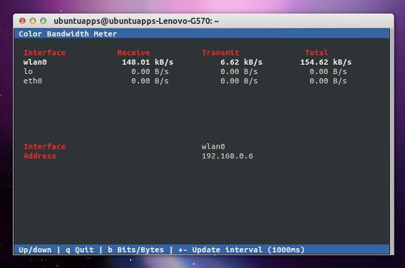 Color Bandwidth Meter (cbm) Ubuntu コマンド ネットワークトラフィック
