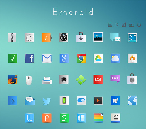 Emerald-icons-theme Ubuntu アイコンテーマ