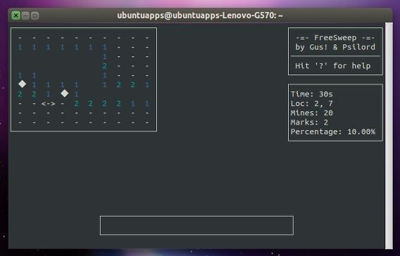 Freesweep Ubuntu 端末 マインスイーパー
