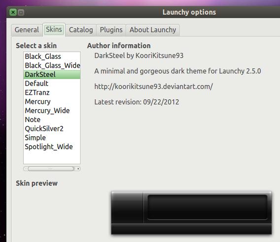 Launchy 2.6 Ubuntu オプション スキンの変更