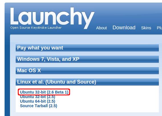 Launchy 2.6 Ubuntu debパッケージ ダウンロード