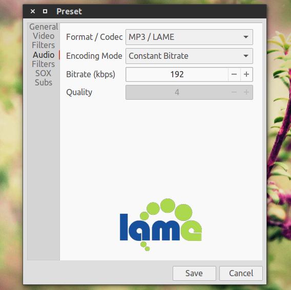 Selene Media Encoder Ubuntu 動画変換 MP3 固定長ビットレート