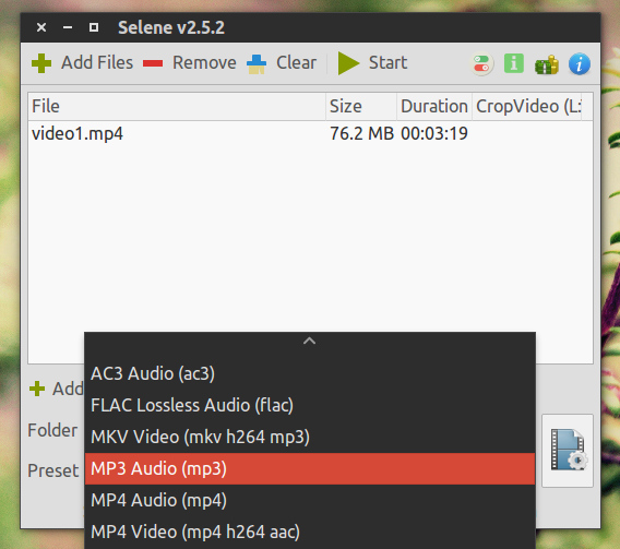 Selene Media Encoder Ubuntu 動画変換 プリセット