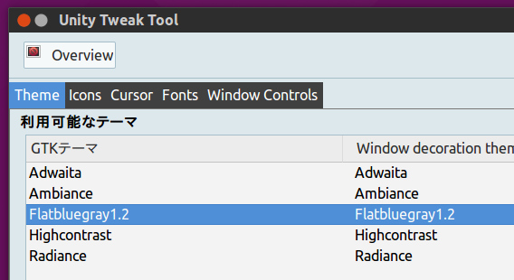Ubuntu 15.04 Unity Tweak Tool 追加のテーマやアイコンの適用
