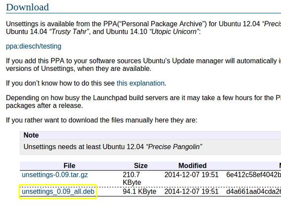 Unsettings Ubuntu 14.10 debパッケージ ダウンロード