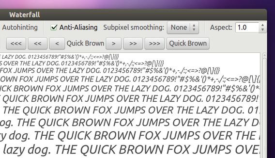 gwaterfall Ubuntu フォントの文字の変更