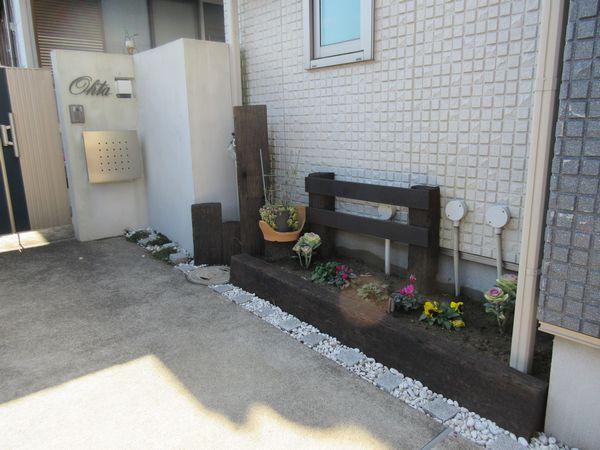 門前花壇完成