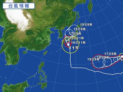 台風11,12号