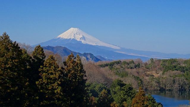 池と富士山