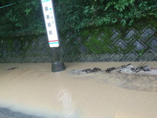 泥に沈んだバス停