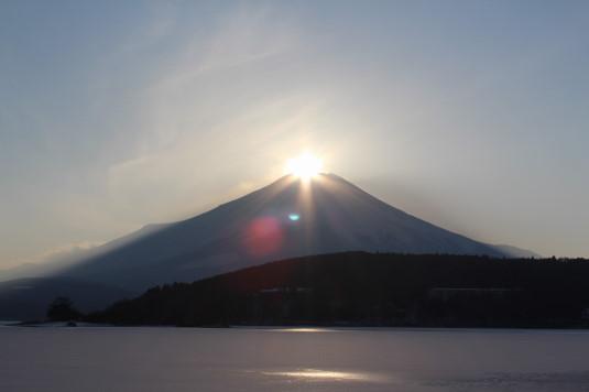 山中湖アイスキャンドル ダイヤモンド富士 引き