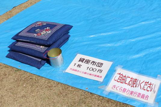桜 大法師公園 お花見 座布団
