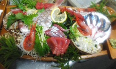 14122前菜三点盛り・刺身(舟盛り)