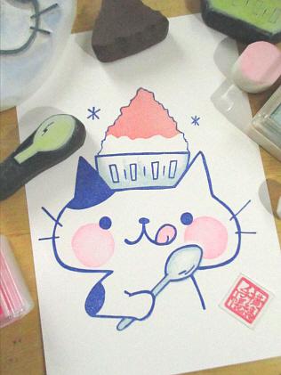2015 7 23カキ氷ねこ4