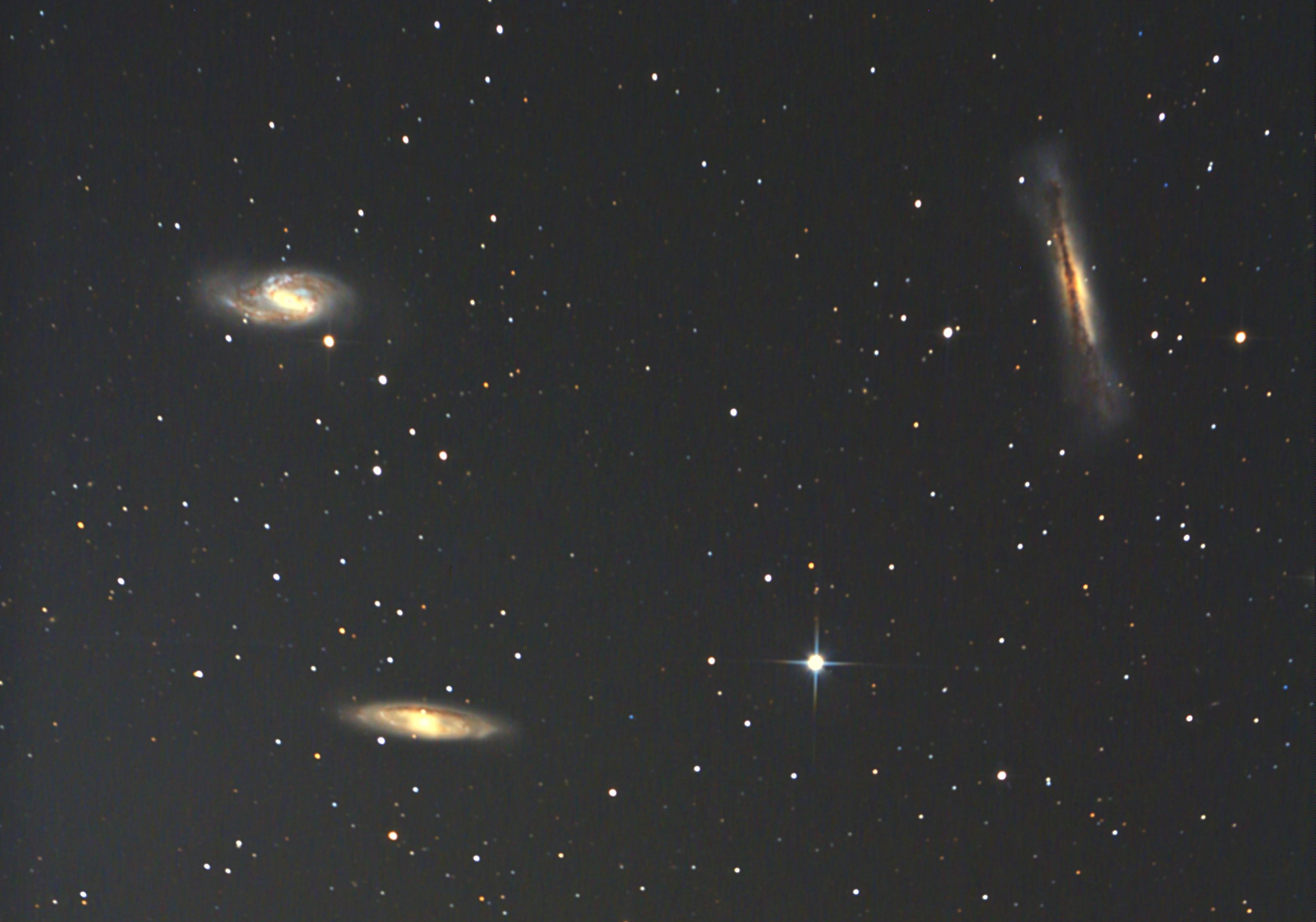 しし座トリオの銀河M65、M66、NGC3628