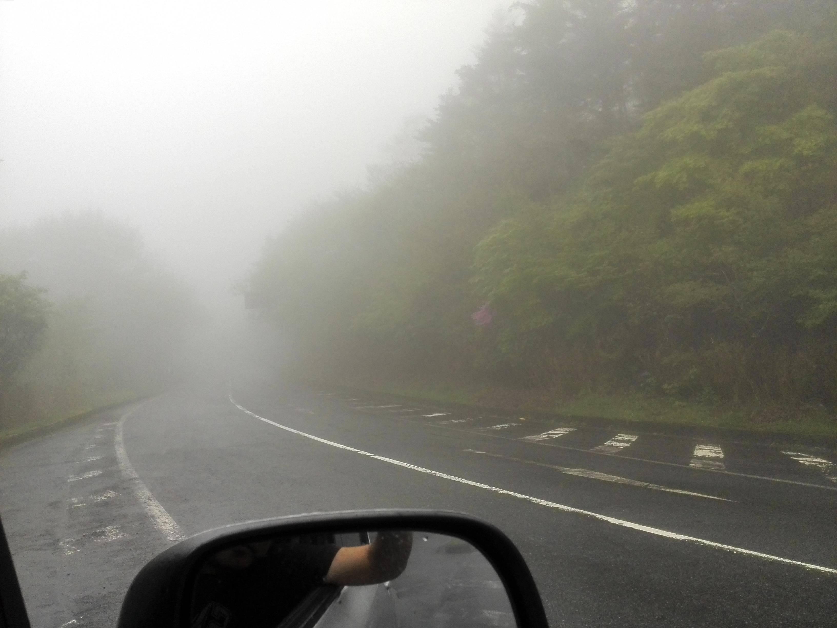 新宮口への分岐ゲート霧の様子