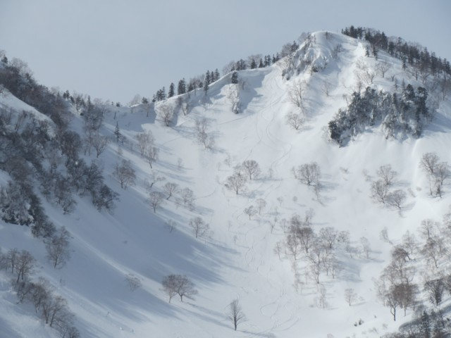 2月28日 滑った西鵯と鵯峰のコル