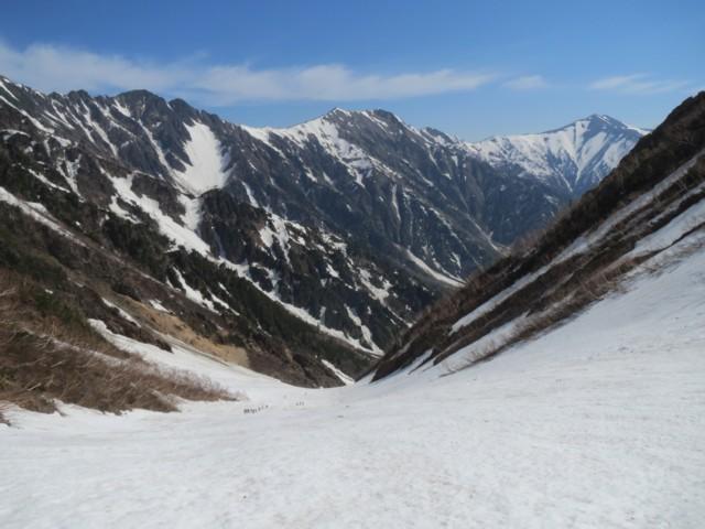 5月17日 分岐から下は雪面キレイ