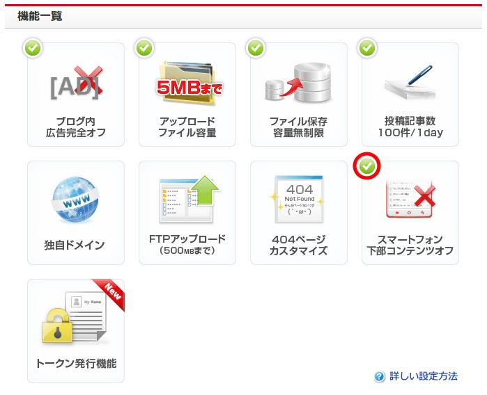 FC2 ブログ Pro (有料プラン) 申し込み内容確認、FC2 ブログ管理画面の設定 → Pro 有料プランをクリック → 機能一覧画面、スマートフォン下部コンテンツオフ有効後アイコンにチェックマーク